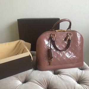 Louis Vuitton Vernis Alma PM Monogram Rose Velours
